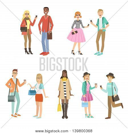 Hipsters And Modern Fashion Trends Set Of Simple Childish Flat Colorful Illustrations On White Background
