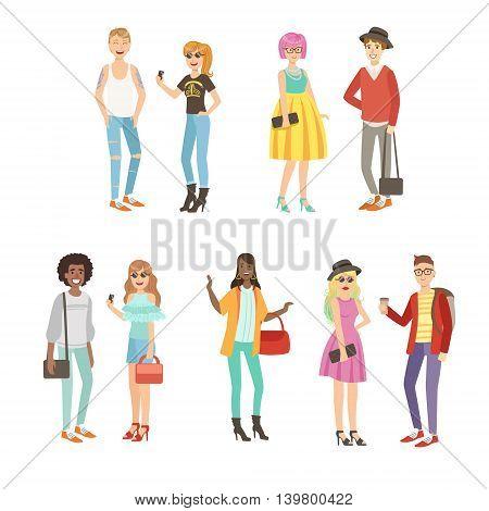 Trendy Street Fashion Clothing Style Set Of Simple Childish Flat Colorful Illustrations On White Background