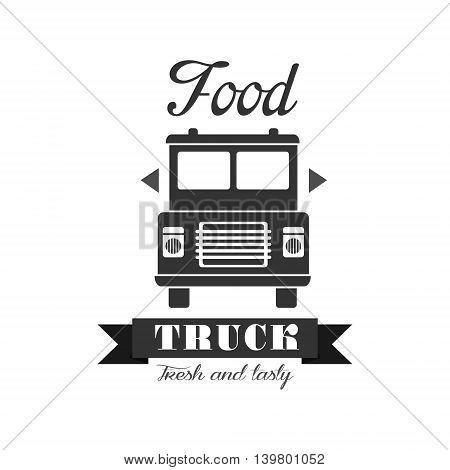 Fresh Food Truck Logo Graphic Design. Black And White Emblem Vector Print