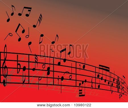 Abstract music background with different notes and lines
