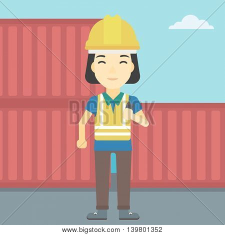An asian port worker talking on wireless radio. Port worker standing on cargo containers background. Woman using wireless radio. Vector flat design illustration. Square layout.