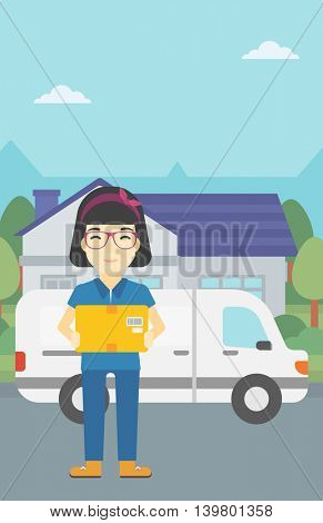 An asian delivery woman with a cardboard box standing on background of delivery truck. Woman with a cardboard box in her hands. Vector flat design illustration. Vertical layout.