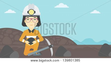 An asian female miner  in hard hat sitting with coal in hands and a pickaxe on the background of coal mine. Vector flat design illustration. Horizontal layout.