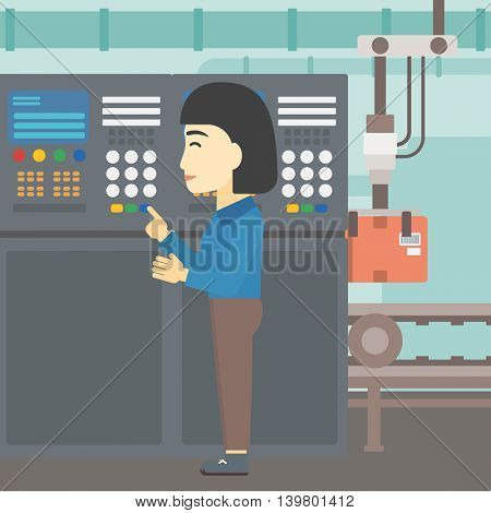 An asian woman working on control panel. Woman pressing button at control panel in plant. Engineer standing in front of the control panel. Vector flat design illustration. Square layout.
