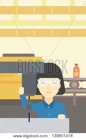 An asian woman working on milling machine at workshop. Woman using milling machine at factory. Woman making a hole using a milling machine. Vector flat design illustration. Vertical layout.
