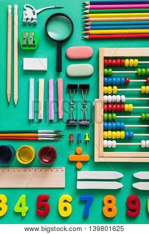 school supplies arrangement lay flat view from above