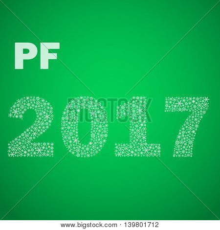 Green Happy New Year Pf 2017 From Little Snowflakes Eps10
