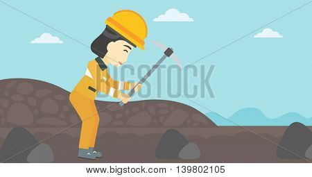An asian female miner  working with a pickaxe. Mine worker in hard hat. Miner at the coal mine. Vector flat design illustration. Horizontal layout.