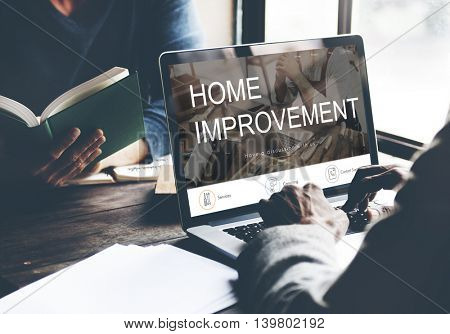Home Improvement Website Register Button Concept