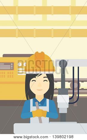 An asian woman working on industrial drilling machine. Woman using drilling machine at manufactory. Metalworker drilling at workplace. Vector flat design illustration. Vertical layout.