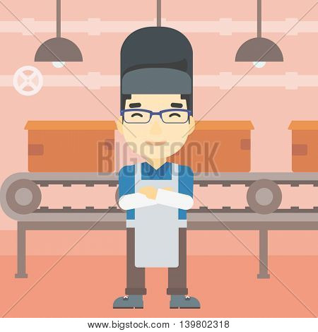 An asian industrial worker with protective welder mask. Welder with arms crossed on the background of factory workshop with conveyor belt. Vector flat design illustration. Square layout.