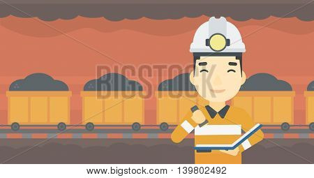 An asian miner  checking documents with the flashlight. Mine worker in hard hat on the background of mining tunnel with cart full of coal. Vector flat design illustration. Horizontal layout.