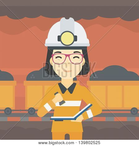 An asian miner  checking documents with the flashlight. Mine worker in hard hat on the background of mining tunnel with cart full of coal. Vector flat design illustration. Square layout.