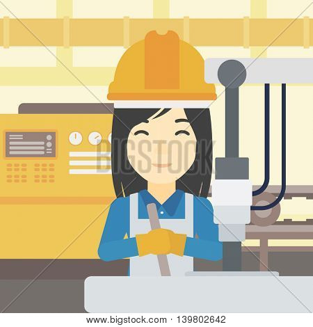 An asian woman working on industrial drilling machine. Woman using drilling machine at manufactory. Metalworker drilling at workplace. Vector flat design illustration. Square layout.
