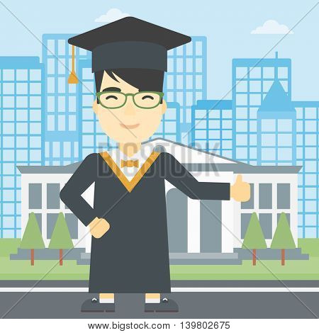 An asian happy graduate in cloak and graduation cap. A graduate giving thumb up. Graduate celebrating on a background of educational building. Vector flat design illustration. Square layout.