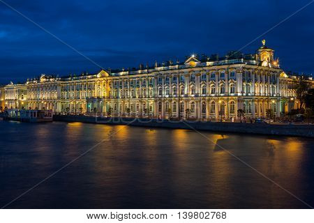 Winter Palace in Saint Petersburg in night Russia