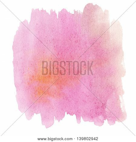 Abstract hand-drawn watercolor background. Pink ink spot watercolor stain with watercolour paint stroke with blank place for your text.