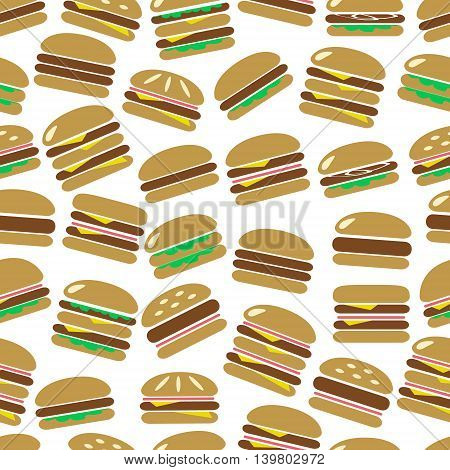 Colorful Hamburgers Types Fast Food Modern Simple Icons Color Seamless Pattern Eps10