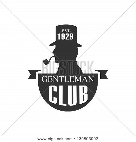 Gentleman Club Label With Man Profile In Black And White Graphic Flat Vector Design