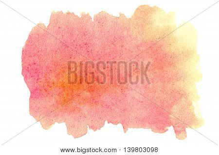 Abstract ink spot textured background. Yellow and Orange Colorful Stain isolated over white. High resolution