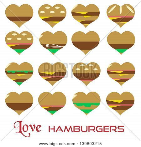 Colorful Hearts Hamburgers Styles Simple Icons Eps10