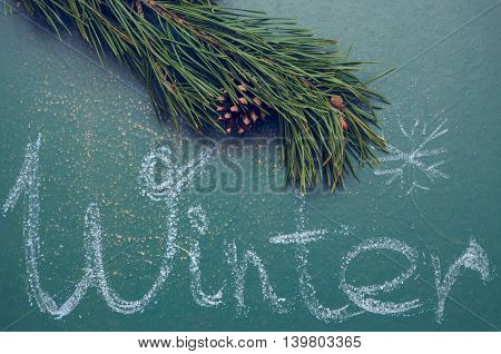 Green pine branch and an inscription Winter on a slate chalkboard