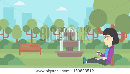 An asian young student with cup of coffee sitting in the park and using laptop. Student working on laptop outdoor. Student with laptop in park. Vector flat design illustration. Horizontal layout.