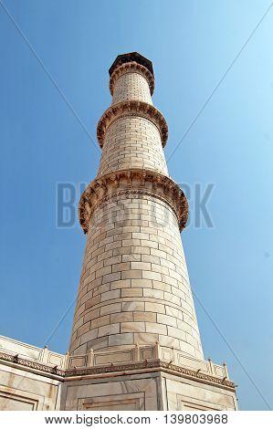 Minaret of Taj Mahal in Agra, India