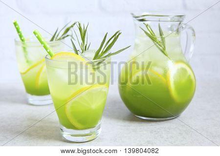 Homemade lemonade with Estragon leaves and Lemon