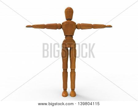 3d illustration of wooden dummy man. white background isolated. icon for game web.