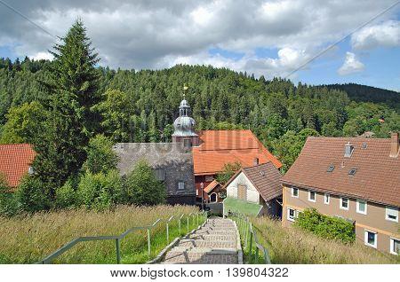 Mountain Village of Altenau in upper Harz region near Goslar,Harz national Park,Lower saxony,Germany