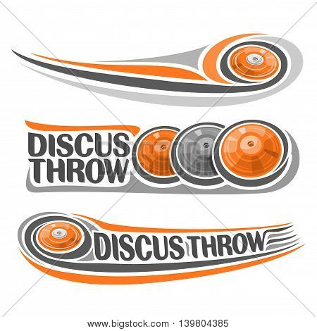 Vector logo for athletics discus throw, consisting of disc flying on trajectory, 3 sports gray orange throwing discs. Track and field equipment for the summer games. Flying Discus Throw