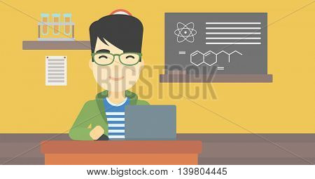 An asian young student sitting at the table and working on laptop. Man working on a laptop on the background of chemistry class . Vector flat design illustration. Horizontal layout.