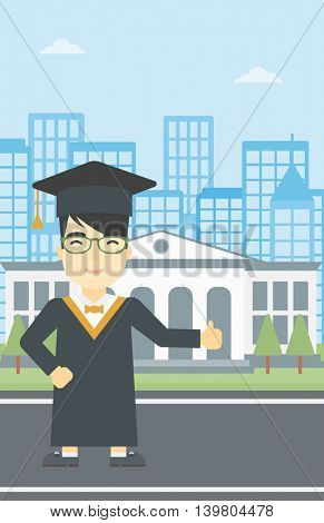 An asian happy graduate in cloak and graduation cap. A graduate giving thumb up. Graduate celebrating on a background of educational building. Vector flat design illustration. Vertical layout.