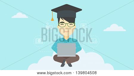 An asian happy graduate sitting on the cloud. Graduate working on laptop. Education technology and graduation concept. Vector flat design illustration. Horizontal layout.