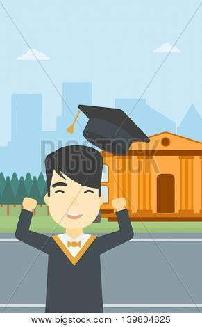 An asian excited graduate in cloak and graduation hat. Graduate throwing up his hat. Graduate celebrating on a background of educational building. Vector flat design illustration. Vertical layout.