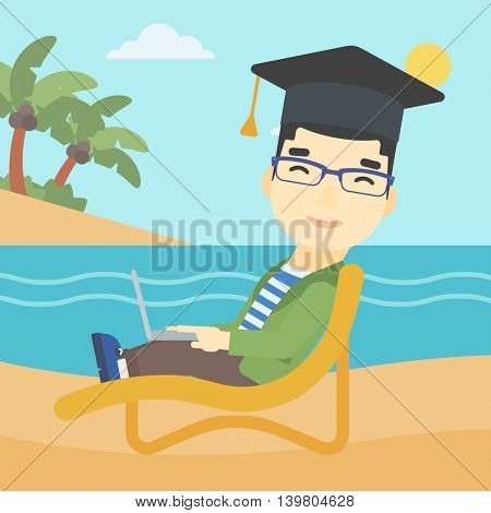 An asian happy graduate lying in chaise long. Young man in graduation cap working on laptop. Graduate on a beach. Vector flat design illustration. Square layout.