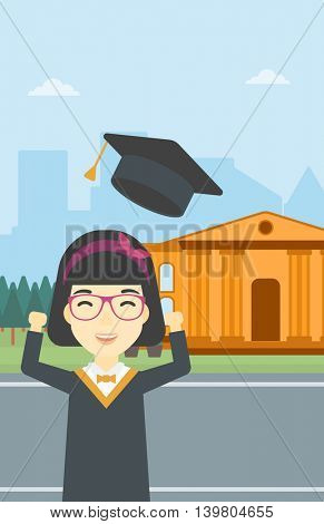 An asian excited graduate in cloak and graduation hat. Graduate throwing up her hat. Graduate celebrating on a background of educational building. Vector flat design illustration. Vertical layout.