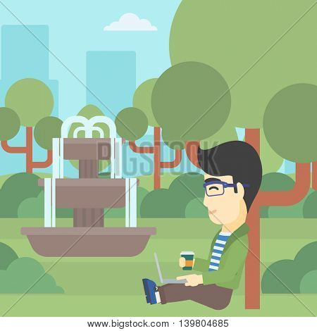 An asian young student with cup of coffee sitting in the park and using laptop. Student working on laptop outdoor. Student with laptop in park. Vector flat design illustration. Square layout.