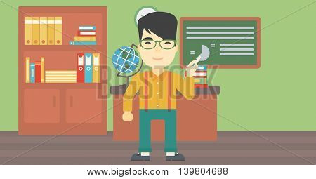 An asian young teacher standing in classroom. Teacher standing in front of the blackboard with a piece of chalk in hand. Vector flat design illustration. Horizontal layout.