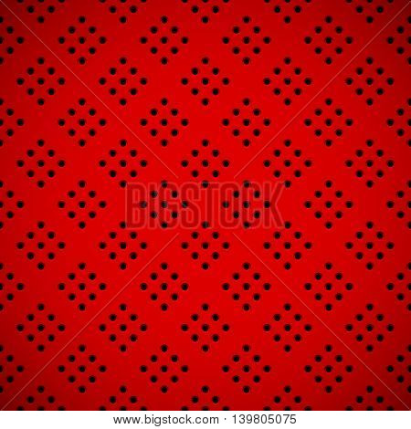 Red abstract technology background with seamless circle perforated speaker grill texture for web user interfaces UI applications apps business presentations and prints. Vector illustration.