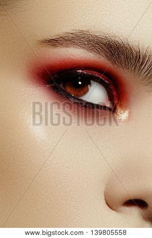 Close-up Portrait Of Beautiful Young Woman Model. Dark Fashion S