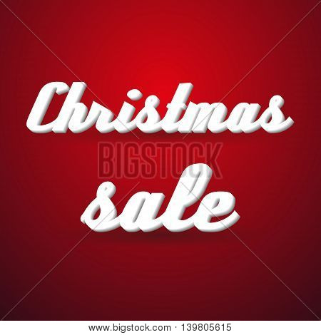 Christmas Holidays Sale Modern Paper Like Text Message On Red Background Eps10