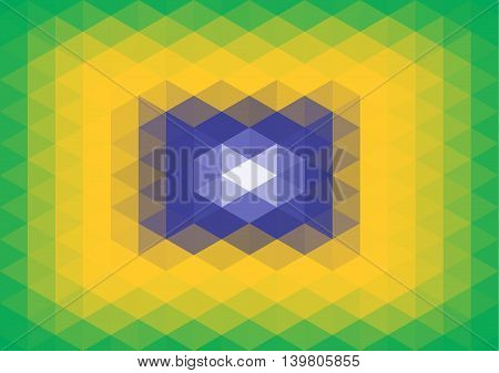 polygon background and texture - green, yellow, blue and white - colors of Brazil flag