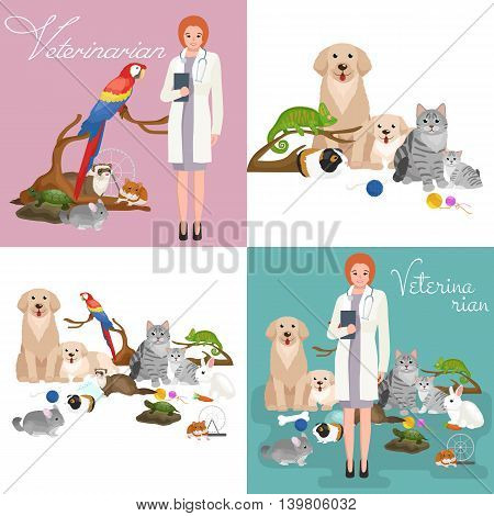 Group of pets and veterinary, doctor with animals patient vector illustration
