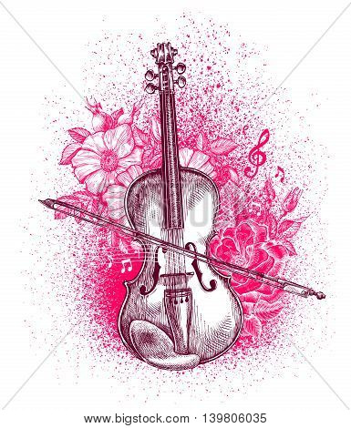 Hand-drawn classical violin and bow. Musical instrument. Vector illustration