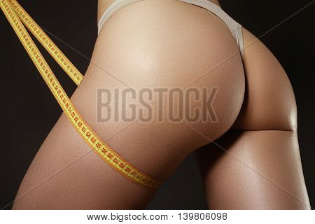 The Beautiful Sports Woman Measures Number In Lingerie By The  M