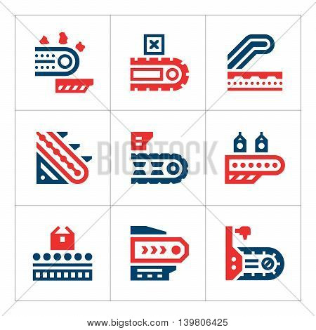 Set color icons of conveyor isolated on white. Vector illustration