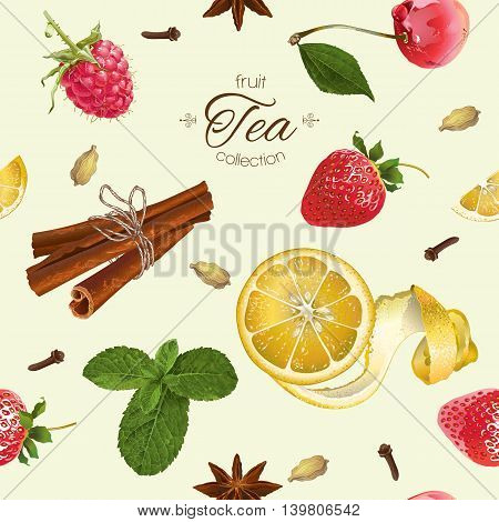 Vector aromatic tea seamless pattern with strawberry, lemon and cinnamon. Background design for tea, natural cosmetics, baking, sweets, grocery, health care products. Best for textile, wrapping paper.