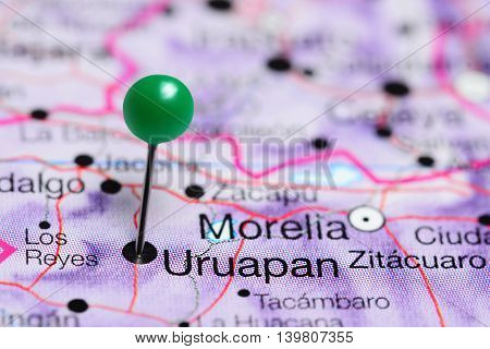 Uruapan pinned on a map of Mexico